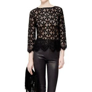 FRAME Le Cropped Lace Shirt Black Size Small